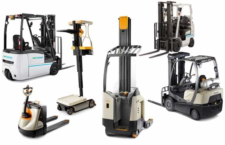 various forklifts