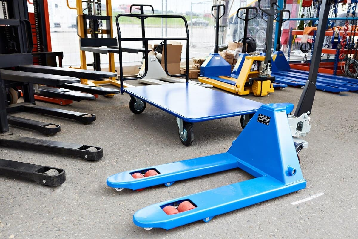Pallet jack on floor warehouse equipment